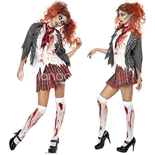 ミネラ ゾンビ 女子高生 制服 血まみれ 血のり 学生 ソックス付き コスプレ 衣装セット 仮装 レディース (M)