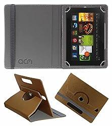 Acm Designer Rotating Leather Flip Case For Kindle Fire Hd 7 2012 2nd Gen Tablet Cover Stand Golden