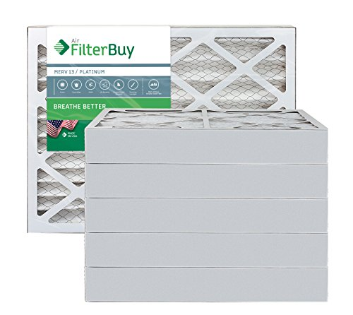 AFB Platinum MERV 13 17x22x4 Pleated AC Furnace Air Filter. Pack of 6 Filters. 100% produced in the USA.