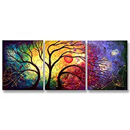 Neron Art - Handpainted Abstract Oil Painting on Gallery Wrapped Canvas Group of 3 pieces - Accra 54X24 inch (137X61 cm)