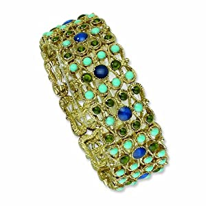 Brass-tone Blue and Green Crystal Aqua Enamel Stretch Bracelet