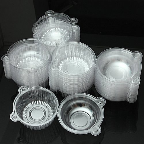 100Pcs Round Clear Cupcake Muffin Cookie Food Box Holder Container