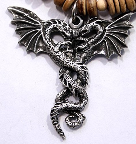 Entwined Dragons In Fine English Pewter On Natural Wood Necklace (Gift Boxed)