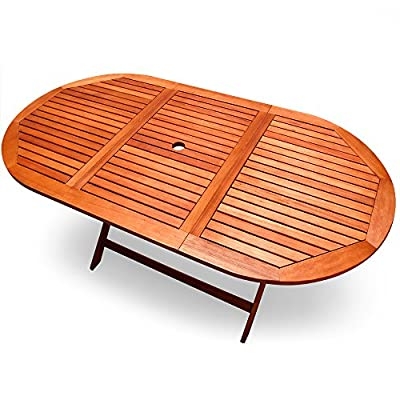 """Wooden Garden table """"Alabama"""" - Foldable terrace table - FSC® certified - Folding table with umbrella holder"""
