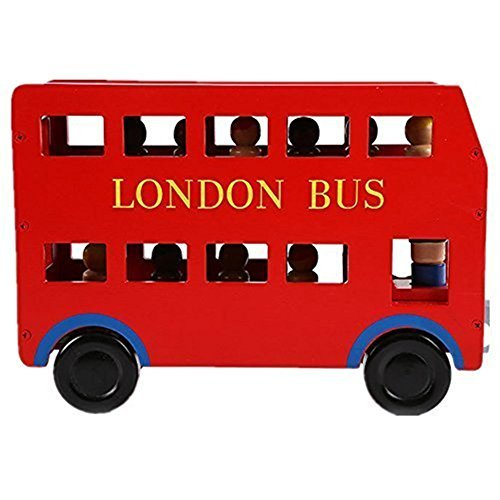 Childream-Red-London-Double-bus-Removable-Wooden-Toy-Cars
