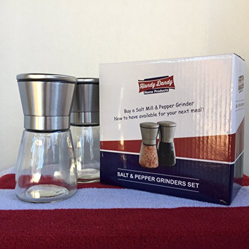 Stainless Steel Salt Pepper Grinder Set Glass Body