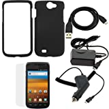GTMax Black Snap on Rubberized Hard Cover Case + Clear LCD Screen Protector + Car Charger + Home Travel Charger + Sync USB Data Cable for T-Mobile Samsung Exhibit II 4G SGH-T679