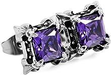 MunkiMix Acero Inoxidable Semental Pendientes Cz Cubic Zirconia Circonita Plata Negro Morado Púrpura Dragón Garra Cuadrada Vendimia Vintage Retro Hombre