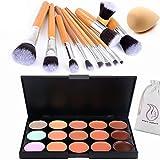 Start Makers 15 colori ultra Concealer- Palette make up - Contouring Palette - Cosmetici Crema contorno ed evidenziare il trucco Kit-Blemish Concealer Kit e 11 di bambù pennelli trucco -Spugna trucco