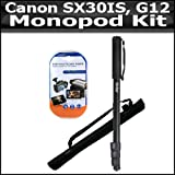 Tripod Kit For The Canon SX30IS SX30 IS SX40 HS SX40IS Canon G12 G1 X G1X SX50 HS, SX50HS, Powershot G15 Digital Camera Includes 67 Inch Monopod + Clear LCD Screen Protectors