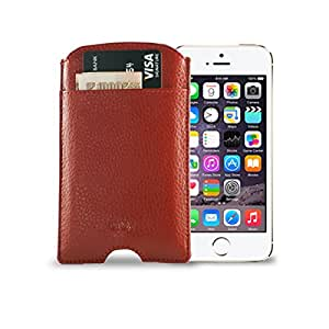 Gogappa 4 inch Leather Phone Case Cover Pouch iPhone 5/5s With Charging Slot (Red)