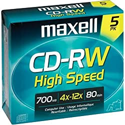 MAXELL 5-Pack High Speed CD-RW Blank Media ( PC / Mac )