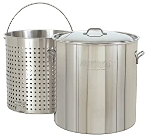 Bayou Classic Stainless Steel Steel Stockpot with Boil Basket