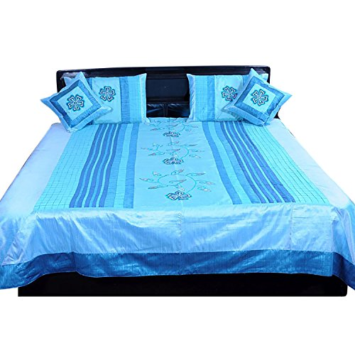 Ufc Mart Blue Embroidered Silk Double Bed Cover With 4 Pillow Cover, Color: Turquoise, #Ufc00354