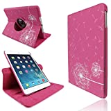 Hot Pink New Apple iPad Air PU Synthetic Leather Dandelion Flower Printed Smart Flip Adjustable Stand 360 Rotating Function Case Cover - Part of JJOnline Store Mobile Phone Accessories