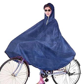 Amazon.com : Adult Bicycle Bike Raincoat Blue Terylene Hooded Poncho