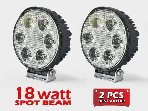 2Pc Spot Light Pencil Beam Round 18W 1500Lm High Power Work Light For Tractor Truck Atv 4Wd Off Road Vehicle Driving Fog Lamp- 12V & 24V Universal