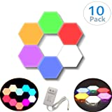 ChenLee 10 Pcs Creative Hexagonal Wall Lights Smart Touch-Sensitive LED Honeycomb Night Lights DIY Modular Assembled Splicing Modern Wall Lamps Home Decor (Color: 10 Pack(colorful))