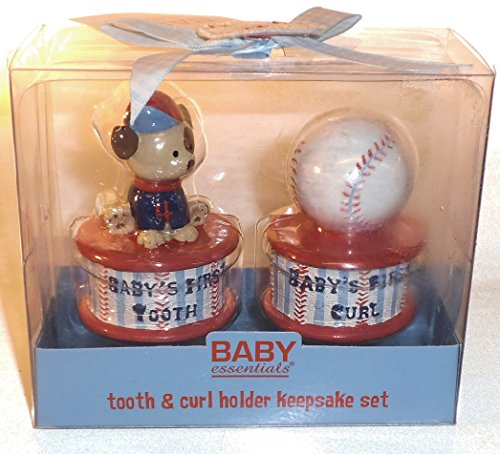 Baby Essentials Tooth and Curl Holder Keepsake Set. Baseball Theme.