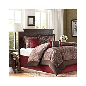 Modern Comforter Bedding Set Red Brown Paisley with Pillows (queen)