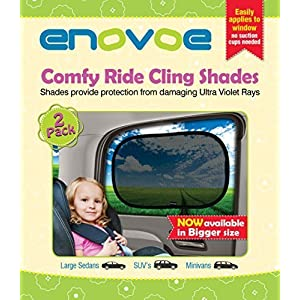 Extra Large Car Sun Shade (2 Pack) for SUVs, MiniVans and Full-Size Sedans - Premium Baby Car Window Shades are best for blocking over 97% of Harmful UV Rays - LIFETIME WARRANTY