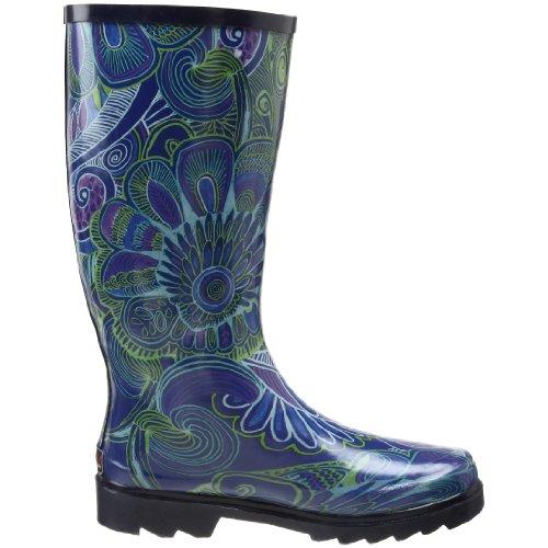 Simple Chooka Chooka Studded Stomper Lace Up Womens Rubber Black Rain Boots