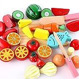(ヘラサ)Herasa ままごと 木製 マグネット 果物と野菜切れる 子供 おもちゃ サクッと切れるままごと 知育玩具 (5046)