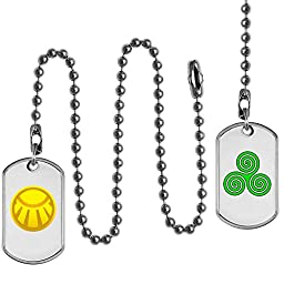 Ceiling Fan Pull Chain Set, Sun and Wind Symbols Design on Dog Tags