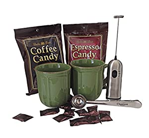 Espresso & Coffee Candy Set with 2 Mugs - Milk Frother - Coffee Clip/spoon