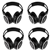 4 Pack of Two Channel Folding Universal Rear Entertainment System Infrared Headphones Wireless IR DVD Player Head Phones for in Car TV Video Audio Listening