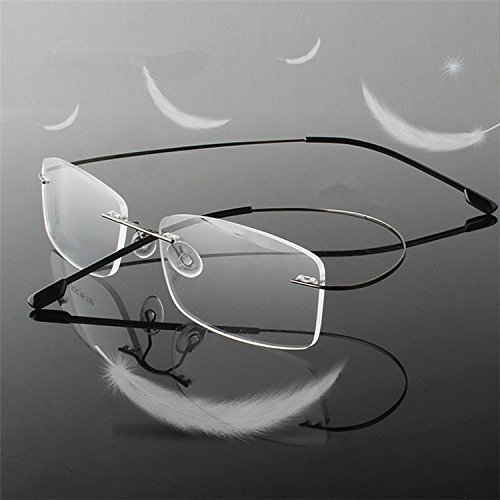 Light Weight Bendable Flexible Frameless Rimless Magnifying Crystal Lens Readers Glasses Reading Glasses Portable Compact Clear Vision Eye Glasses Eyewear 0ptical Frame Business Glasses Silver +1.50