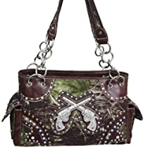 BROWN CAMO WESTERN BUCKLE DOUBLE PISTOL PURSE