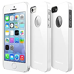 Apple iPhone 5 / 5S Case - Ringke SLIM Case [LF WHITE Logo Cut-out][Better Grip] -Logo Protection Stickers Included- Premium Dual Coated Hard Case Cover for Apple iPhone 5 / 5S [ECO Package]