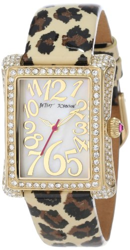 Betsey Johnson Women's BJ00197-08  Analog Rectangle Case Set in Crystal Watch