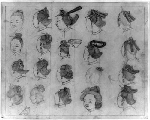 Chinese Womens Hairstylesfaces Also Shows Sketch Of A Bound Foot