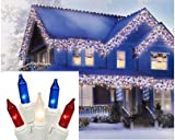 Set of 100 Red - Clear Frosted & Blue Icicle Patriotic 4th of July Mini Christmas Lights - White Wire
