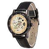 メンズ腕時計 機械式腕時計 手巻き スケルトンタイプ ウォッチ ブラック+ゴールド