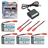 HOBBYTIGER 3.7V 800mAh Lipo Battery + 4 in 1 Batteries Charger for MJX X400 X200 X300C X500 X800 RC Quadcopter Drone