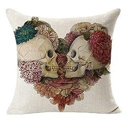 SMTSMT Linen Decorative Cushion Covers Vintage Skull Throw Pillow Cases-18\