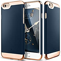 iPhone 6S Case, Caseology® [Savoy Series] Chrome / Microfiber Slider Case [Navy Blue] [Premium Rose Gold] for Apple iPhone 6S (2015) & iPhone 6 (2014) - Navy Blue