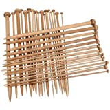 Samyo 36 Pcs Single Pointed Smooth Premium Carbonized Brown Bamboo Knitting Needles Set with 18 Different Sizes 2mm-10mm (10 Inches)