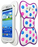 niceEshop Cute 3D Dot Bowknot With Purple Frame Soft Silicone Case Cover for Samsung Galaxy S3 i9300 +Screen Protector