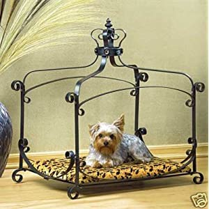 Luxury Royal Princess Iron scroll Canopy Dog Cat Pet Bed Furniture small 25 x 18
