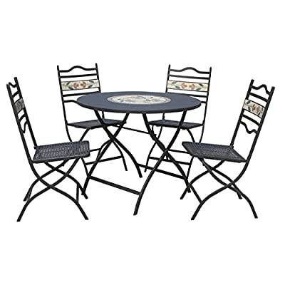 LeisureGrow South Cape 90cm Round Folding Dining Set - Grey Metal Garden Furniture Set - 4 Seater Dining Set - Outdoor Patio Table and Chair Set