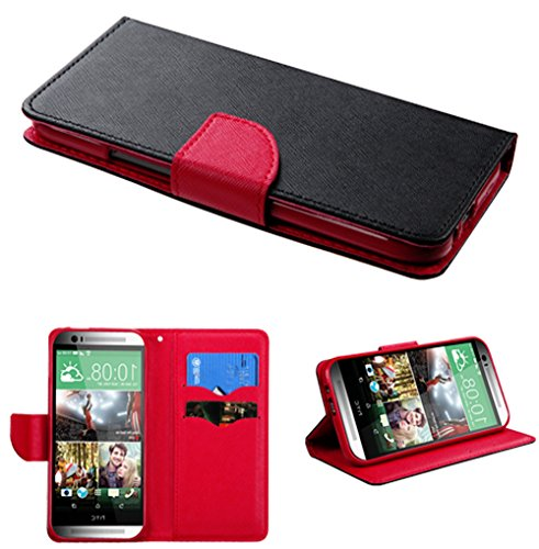 Mylife Deep Black + Red {Modern Design} Faux Leather (Card, Cash And Id Holder + Magnetic Closing) Slim Wallet For The All-New Htc One M8 Android Smartphone - Aka, 2Nd Gen Htc One (External Textured Synthetic Leather With Magnetic Clip + Internal Secure S