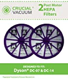 2 Dyson DC07, DC14 Purple Post-Motor HEPA Filter; Replaces Dyson DC-07, DC-14 Vacuum Part # 901420-02, 90142002, 921623-01, 92162301, 90142001, 901420-01; Designed & Engineered By Crucial Vacuum
