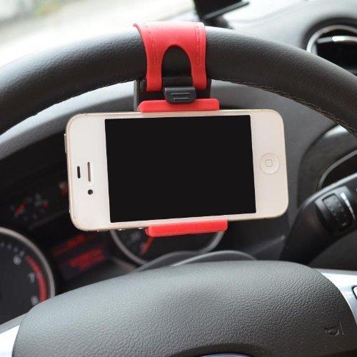 COVERUNIVERSE (R) Supporto regolabile universale da auto con aggancio al volante per iPhone (no 6 plus), telefonini e smartphone
