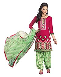 Ala4u Deep Pink printed Patiala style Unstiched Cotton Dress Material