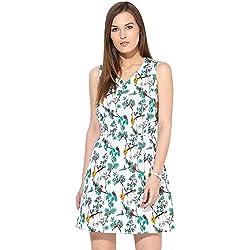 Citrine Women's Skater Dress (ZCTCWDRS0027_White Multi_X-Large)