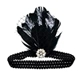 Babeyond-Black-White-Feather-Plume-1920s-Flapper-Headband-w-Elastic-Band-Pearls